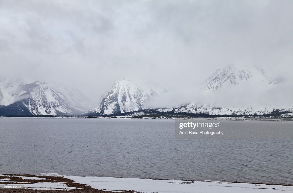 Snow clad Grand Teton National Park, Wyoming : Stock Photo