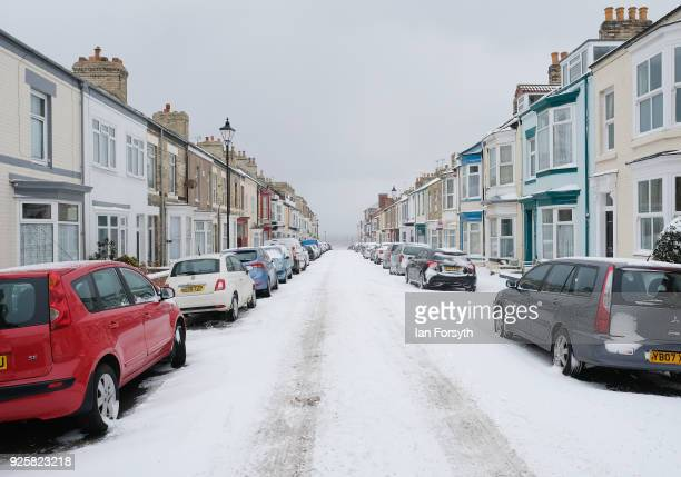 Snow continues to cover the streets on March 1 2018 in SaltburnByTheSea United Kingdom Freezing weather conditions dubbed the Beast from the East...