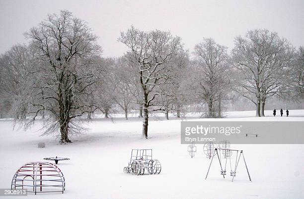 A snow covered Abington Park after snow storms hit Northampton on January 28 in Abington Northampton England