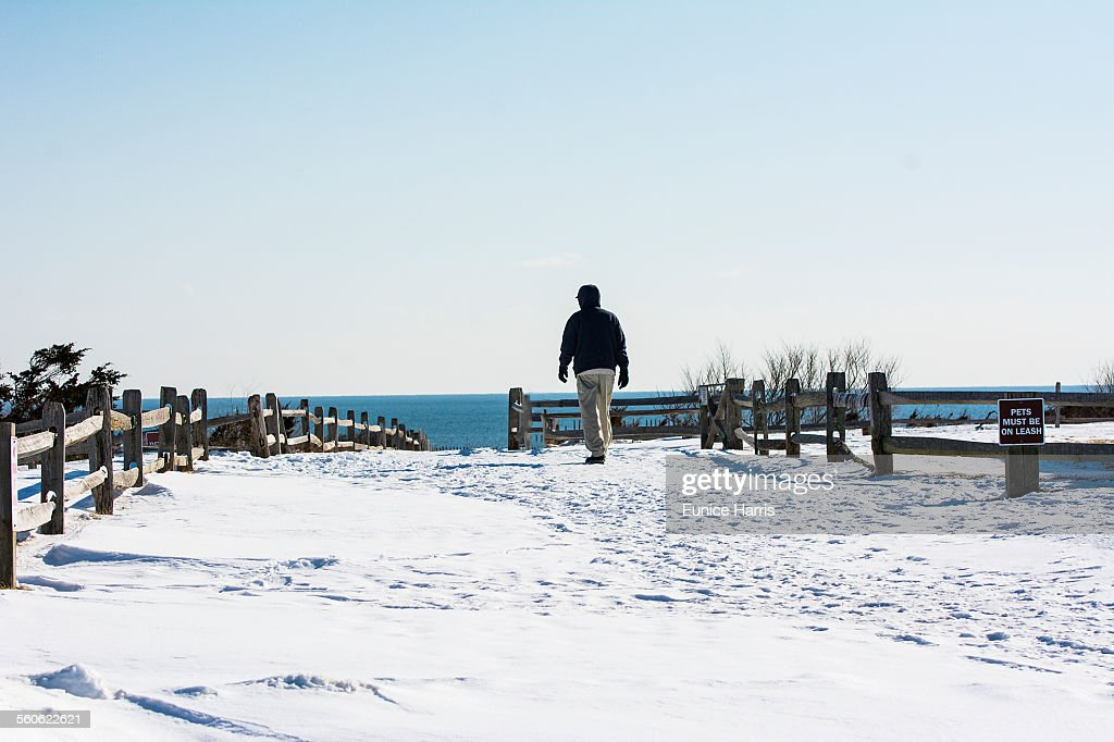 Snow Covered Beach Stock Photo