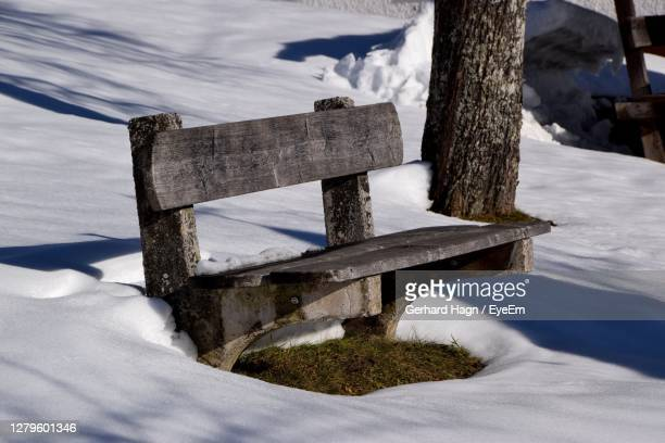 snow covered bench by tree trunk during winter - gerhard hagn stock-fotos und bilder