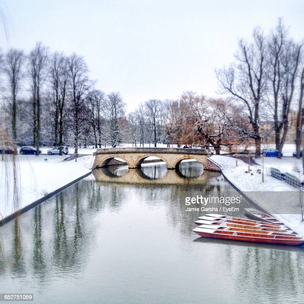 Snow Covered Bridge Over Canal