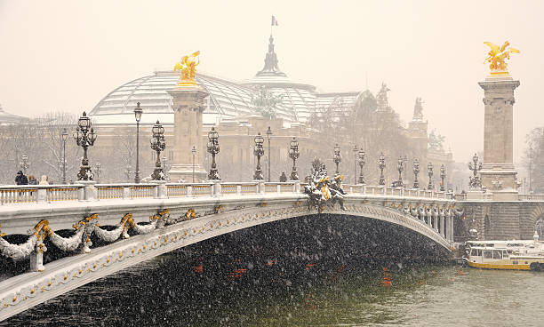 Snow covered bridge, Paris