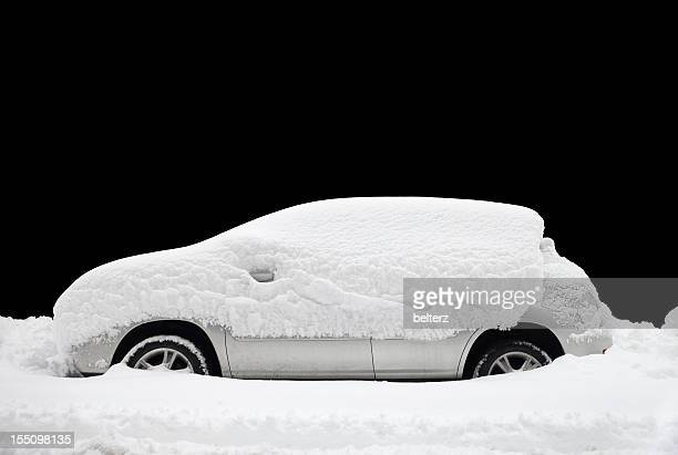 snow covered car - deep snow stock pictures, royalty-free photos & images