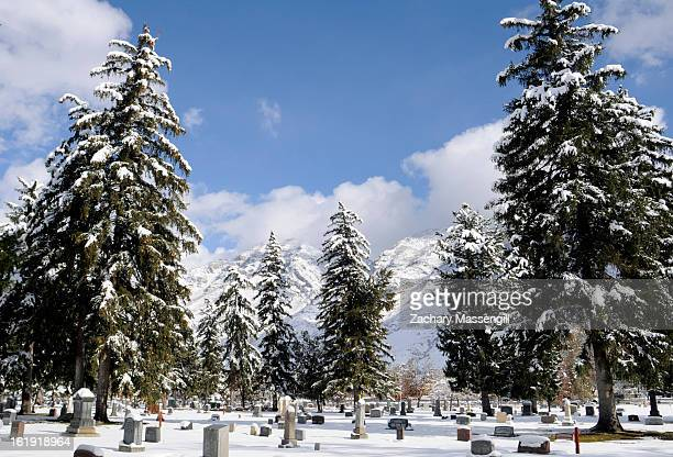 Snow covered cemetery in Provo Utah