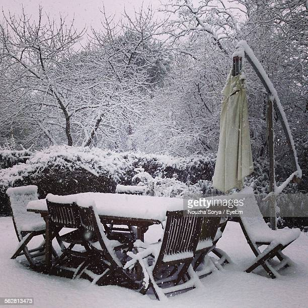 Snow Covered Chairs And Tables In Cafe