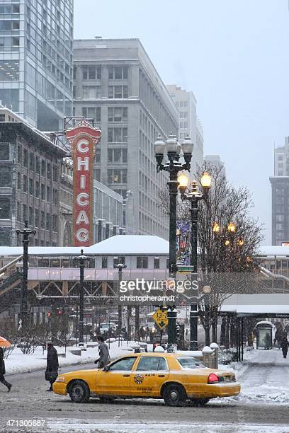 Snow Covered Chicago State Street in Winter