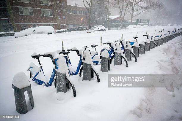 Snow covered Citi Bikes in Chelsea in New York during Winter Storm Jonas on Saturday, January 23, 2016. The Citi Bike system shut down at 11 PM on...