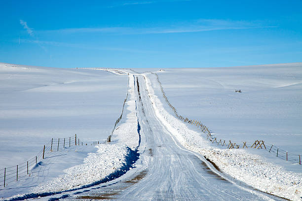 POV Of Snow Covered Country Road. Wall Art