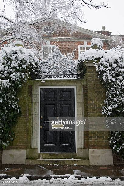 Snow covered doorway in Hampstead North London United Kingdom