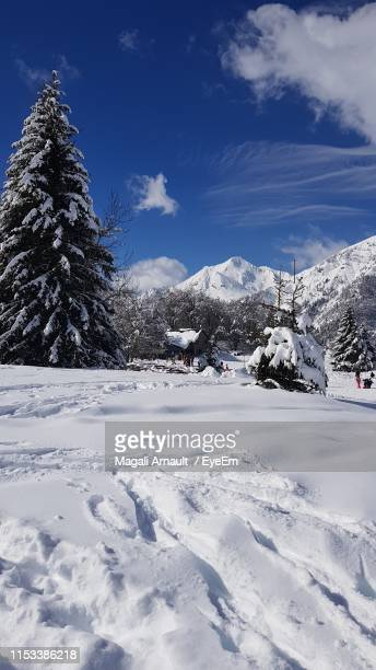 snow covered field against sky - arnault stock pictures, royalty-free photos & images