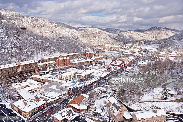 Snow covered Gatlinburg near the Smoky Mountains
