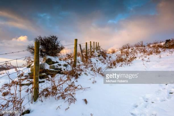 Snow covered hill at Cwmyoy near Abergavenny in the Black Mountains, Brecon Beacons national park, Wales.