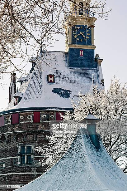 snow covered hoofdtoren, winter trees and smaller rooftop in foreground. - merten snijders stockfoto's en -beelden