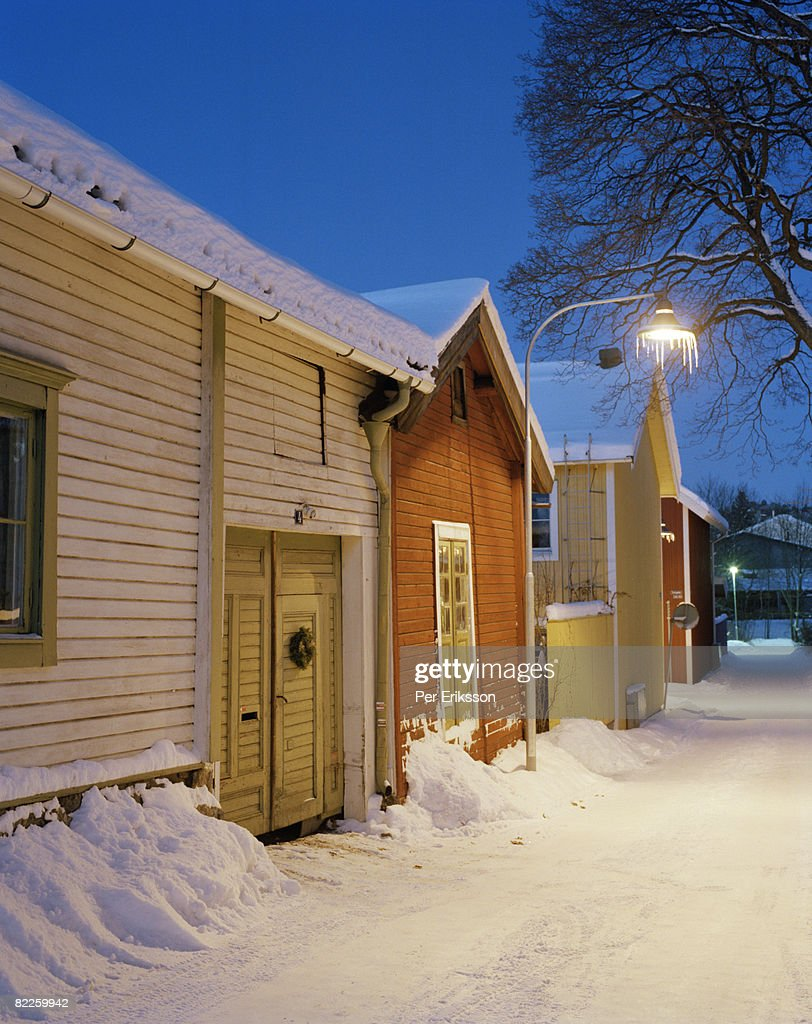 Snow covered houses Sweden. : Stock Photo