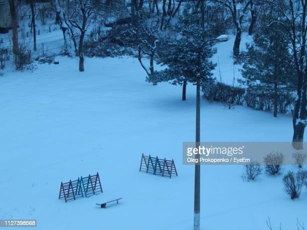 snow covered land and trees on field during winter - oleg prokopenko stock pictures, royalty-free photos & images