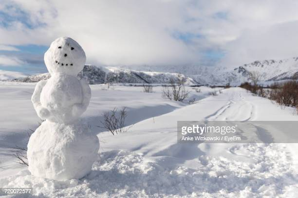 snow covered landscape against sky - snowman stock pictures, royalty-free photos & images
