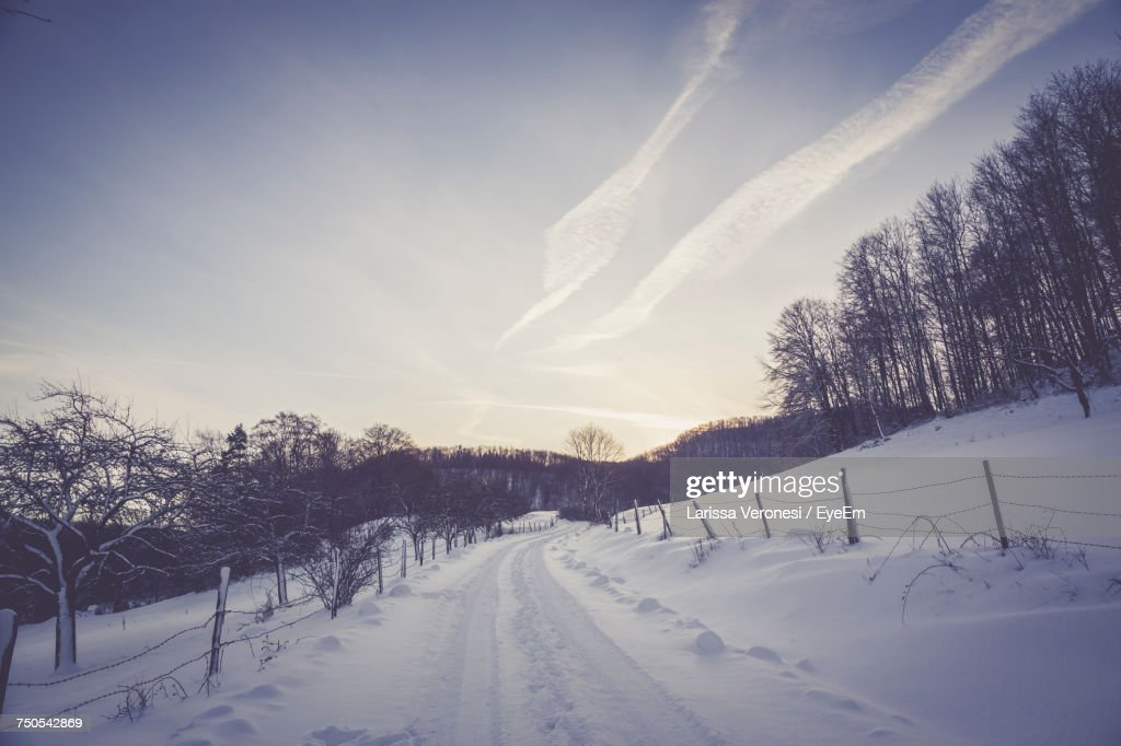Snow Covered Landscape Against Sky : Stock Photo
