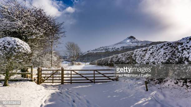 snow covered landscape against sky - middlesbrough stock pictures, royalty-free photos & images