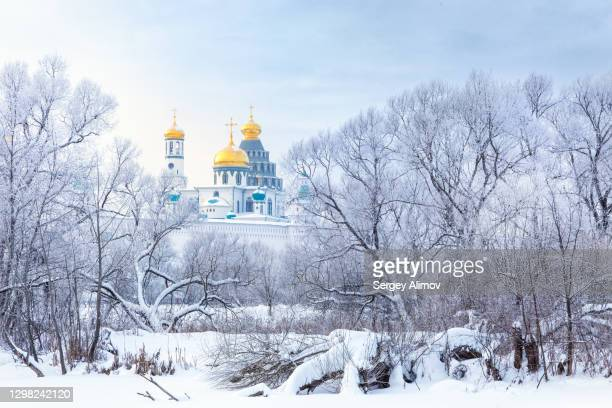snow covered landscape in front of new jerusalem cathedral - rotunda stock pictures, royalty-free photos & images