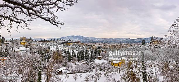Snow covered landscape near Piazzale Michelangelo in Florence