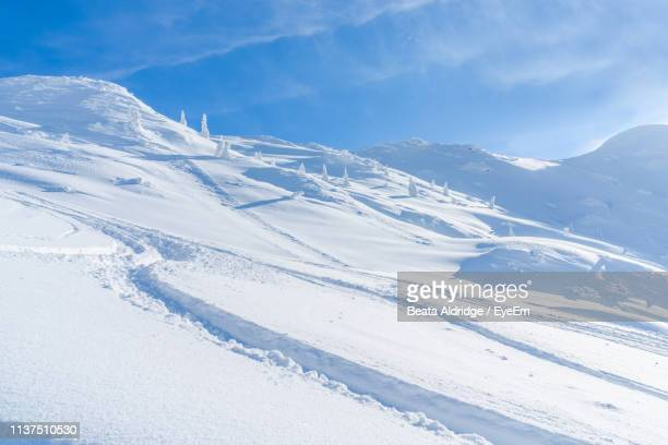 snow covered mountain against sky - ゼーフェルト ストックフォトと画像