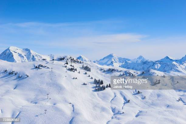 Snow covered mountain landscape, Gstaad, Switzerland