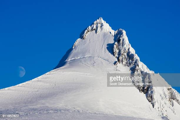 snow covered mountain peak against a blue sky with a faint moon in the distance - kachemak bay stock pictures, royalty-free photos & images