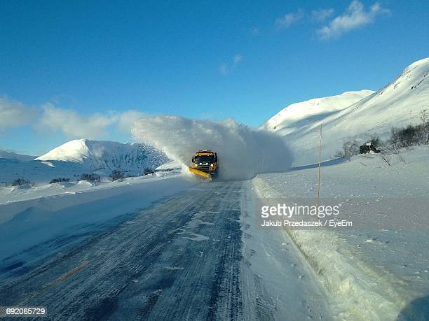 snow covered mountain range - snowplow stock pictures, royalty-free photos & images
