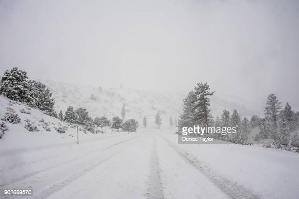 Snow covered mountain road with tire tracks in snow storm