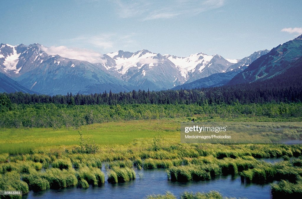 Snow covered mountains and a stream along Alaska highway, Alaska, USA : Stock Photo