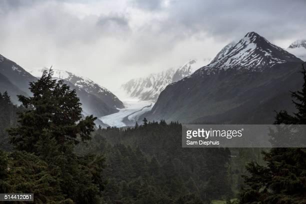 Snow covered mountains in rural landscape, Anchorage, Alaska, Denali National Park, United States