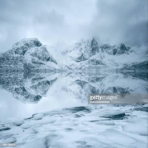 Snow covered mountains, Lofoten, Norway
