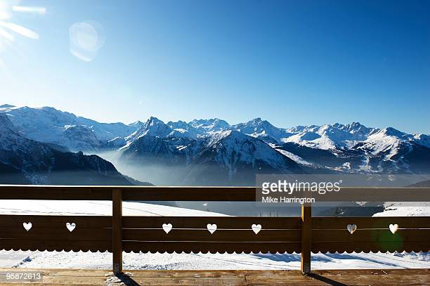 snow covered mountains  - la plagne stock photos and pictures