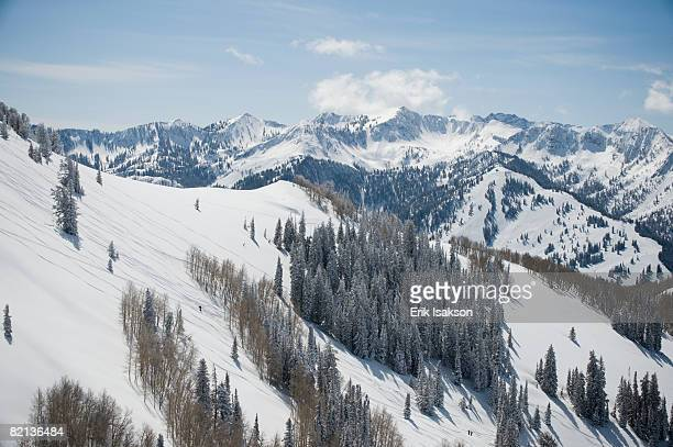 snow covered mountains, wasatch mountains, utah, united states - park city utah stock pictures, royalty-free photos & images