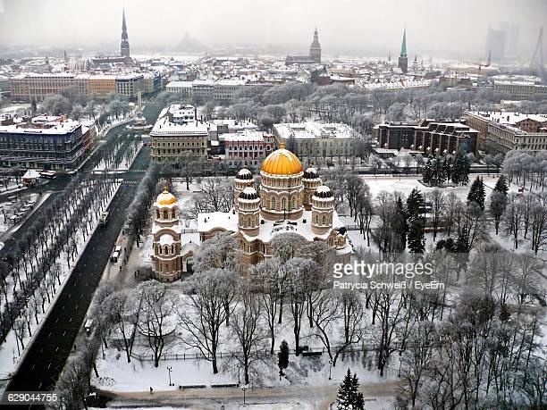 Snow Covered Nativity Cathedral Against Sky