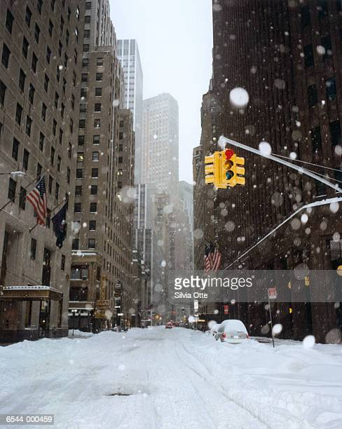 Snow Covered New York Street