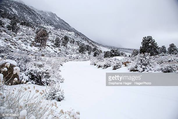 snow covered road - lone pine california stock pictures, royalty-free photos & images