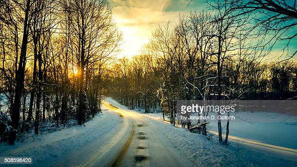 snow covered roads - eubank stock photos and pictures