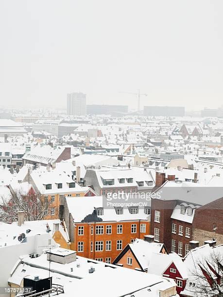 Snow covered rooftops in Copenhagen