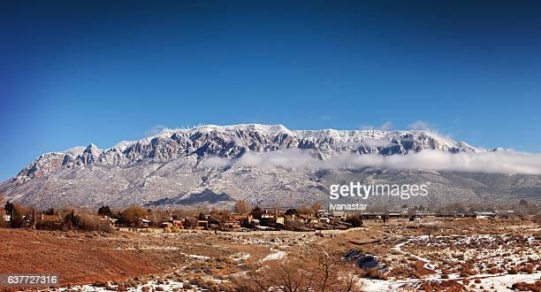 snow covered sandia mountains  new mexico - sandia mountains stock pictures, royalty-free photos & images