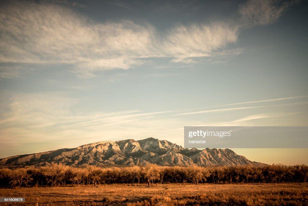 Snow Covered Sandia Mountains : Stock Photo