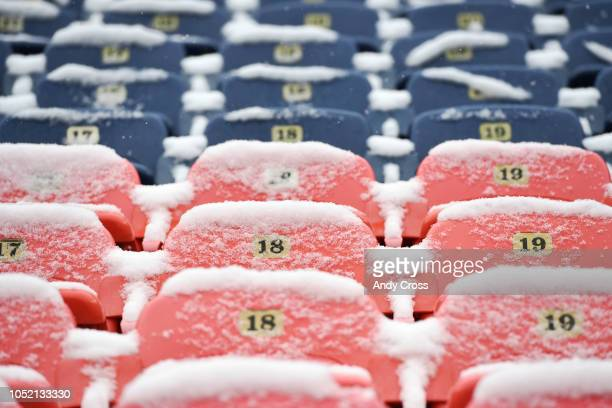 Snow covered seats in the north end zone at Broncos Stadium at Mile High before the Denver Broncos played the Los Angeles Rams October 14, 2018.