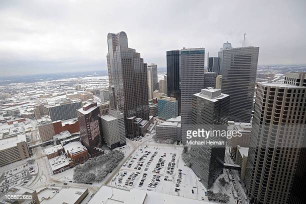 A snow covered skyline is seen from the 37th floor of the Sheraton Dallas on February 4 2011 in Dallas Texas More than four inches of snow fell...