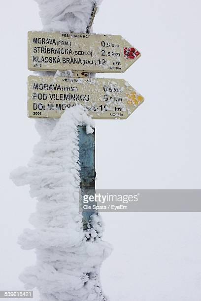 Snow Covered Street Name Sign Pole Against Clear Sky
