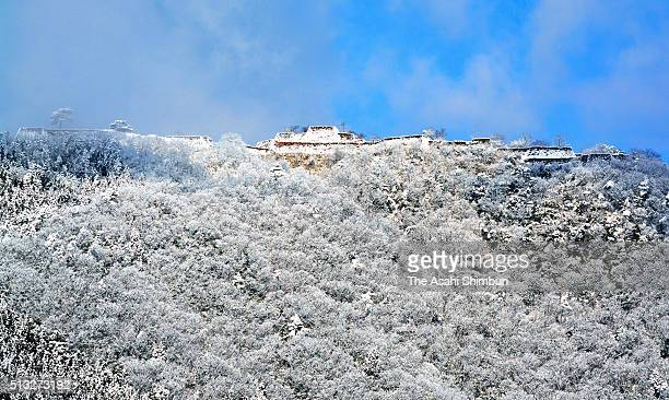 Snow covered Takeda Castle ruins is seen on March 1 2016 in Asago Hyogo Japan