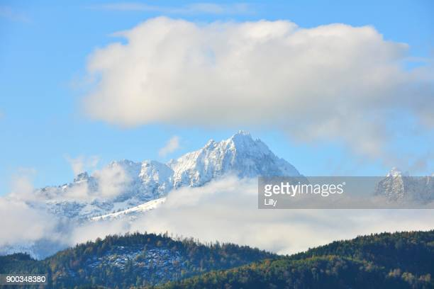 Snow covered Tannheimer mountains, seen from Schwangau, Allgaeu, Bavaria, Germany