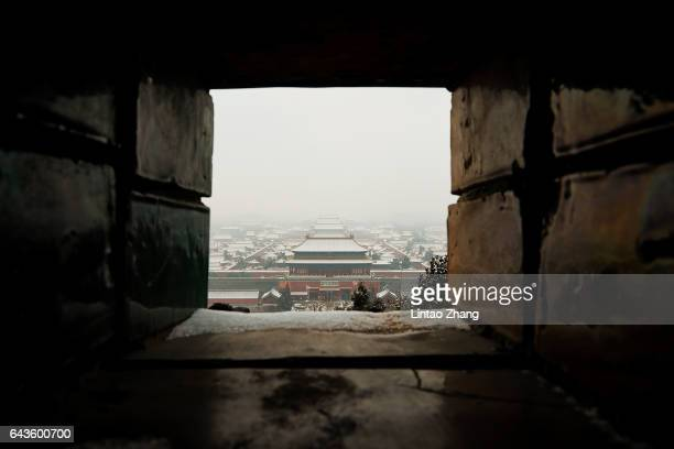 Snow covered the Forbidden City on February 22 2017 in Beijing China Many parts of North China and Huanghuai region welcome the first snow in the...