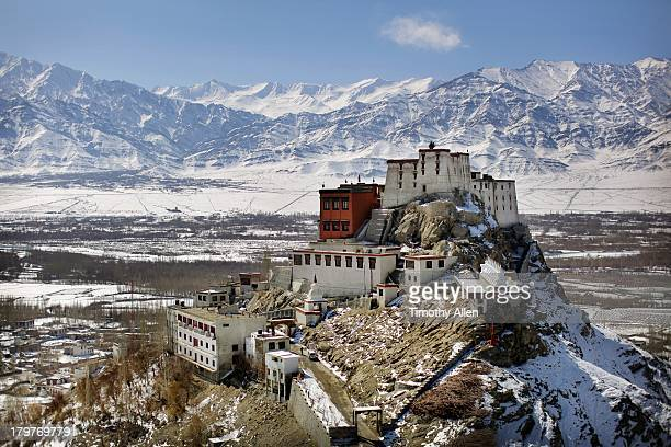 Snow covered Thikse Monastery in winter