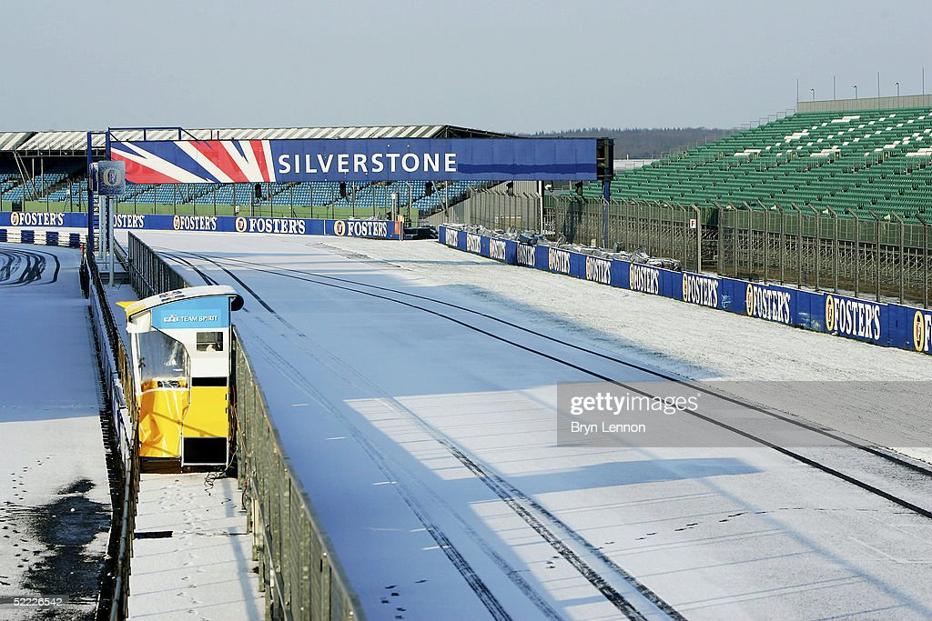 A snow covered track delays Formula One Testing at Silverstone Circuit on February 22, 2005 in Silverstone, England.